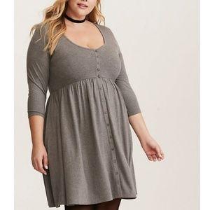 Torrid Gray jersey button front dress.